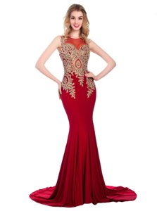 Discount Wine Red Column/Sheath Scoop Sleeveless Elastic Woven Satin With Brush Train Side Zipper Lace and Appliques