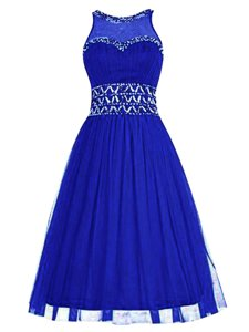 Best Royal Blue Scoop Zipper Beading Homecoming Dress Sleeveless