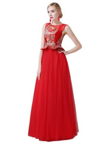 Delicate Scoop Sleeveless Zipper Floor Length Beading and Appliques Prom Dresses