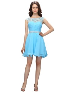 Pretty Knee Length Baby Blue Prom Dresses Organza Sleeveless Beading and Ruching