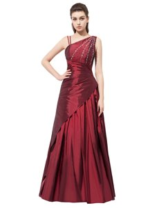 Vintage Burgundy Empire Asymmetric Sleeveless Elastic Woven Satin Floor Length Side Zipper Beading and Bowknot Prom Evening Gown