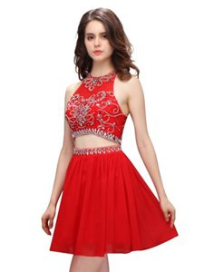 Red Two Pieces Chiffon Scoop Sleeveless Beading Mini Length Zipper Homecoming Dress