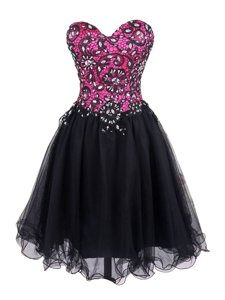 Pink And Black Sleeveless Mini Length Beading and Lace Zipper Prom Dress