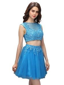 Baby Blue Sleeveless Mini Length Beading and Appliques Zipper Prom Gown