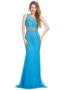 One Shoulder Baby Blue Sleeveless Tulle Brush Train Zipper Prom Dress for Prom and Party