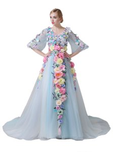 With Train Zipper Prom Gown Light Blue and In for Prom and Party with Hand Made Flower Court Train