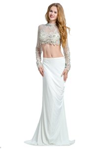 High End Brush Train Two Pieces Prom Evening Gown White High-neck Chiffon Long Sleeves With Train Backless