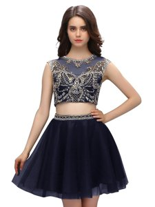 Navy Blue Tulle Criss Cross Scoop Sleeveless Mini Length Beading