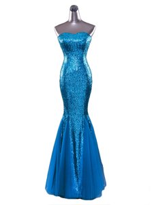 Mermaid Floor Length Zipper Evening Dress Blue and In for Prom and Party with Sequins