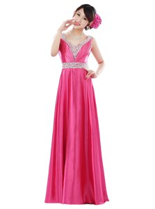 Hot Selling Floor Length Hot Pink Elastic Woven Satin Sleeveless Beading