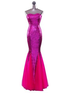 Mermaid Sequins Strapless Sleeveless Zipper Prom Dress Fuchsia Sequined