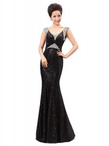 Chic Sequins V-neck Sleeveless Zipper Prom Gown Black Sequined