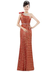 Artistic One Shoulder Orange Sleeveless Floor Length Beading and Sequins Zipper Prom Gown