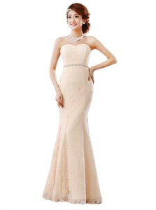 Amazing Sleeveless Zipper Floor Length Beading and Lace Prom Evening Gown