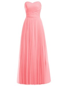 Great Sleeveless Floor Length Ruffles Zipper Evening Dress with Watermelon Red and Rose Pink