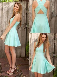 Sleeveless Chiffon Mini Length Criss Cross Prom Dress in Apple Green for with Pleated
