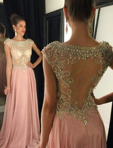 Perfect Pink Bateau Side Zipper Beading Prom Party Dress Brush Train Cap Sleeves