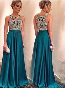 Satin Scoop Sleeveless Zipper Appliques Prom Party Dress in Teal