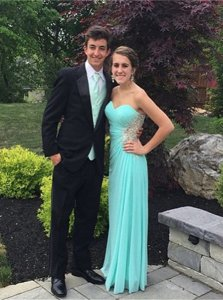 Custom Made Chiffon Sweetheart Sleeveless Zipper Beading Prom Dresses in Aqua Blue