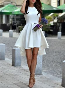 Custom Design Scoop White Zipper Dress for Prom Pleated Sleeveless Asymmetrical