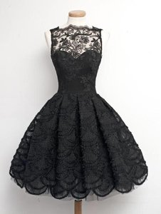 Enchanting Sleeveless Lace Knee Length Zipper Prom Dresses in Black for with Appliques