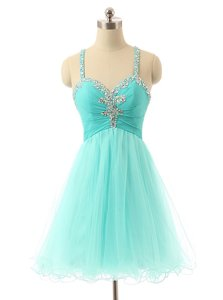Shining Aqua Blue Criss Cross Evening Dress Beading Sleeveless Mini Length