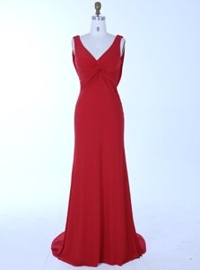 Captivating Mermaid Zipper Prom Dress Red and In for Prom and Party with Beading Brush Train