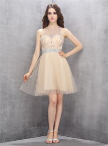 Scoop Knee Length Champagne Dress for Prom Tulle Sleeveless Beading