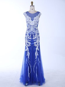 Mermaid Scoop Sleeveless Floor Length Beading and Appliques Backless Prom Gown with Royal Blue
