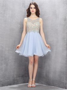 Hot Sale Scoop Sleeveless Mini Length Beading and Sequins Light Blue Chiffon
