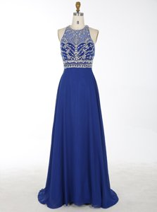 Royal Blue Scoop Criss Cross Beading Prom Evening Gown Brush Train Sleeveless