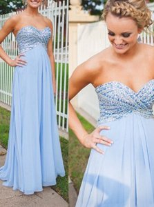Captivating Floor Length Light Blue Prom Gown Sweetheart Sleeveless Backless
