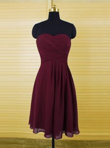 Burgundy Zipper Sweetheart Ruching Dress for Prom Chiffon Sleeveless