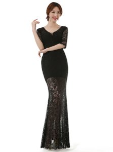 Scoop Black Half Sleeves Lace Ankle Length Evening Dress