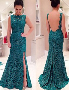 Charming Mermaid Teal Prom Dress Prom and Party and For with Lace Scalloped Sleeveless Backless