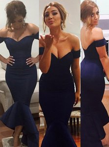 Mermaid V-neck Sleeveless Prom Dress Floor Length Ruffles Navy Blue Satin