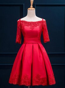 Charming Off the Shoulder Red Lace Up Homecoming Dress Appliques and Pleated Half Sleeves Mini Length