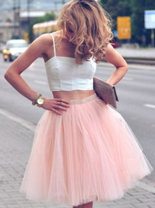 Pink And White Evening Dress For with Ruffles Spaghetti Straps Sleeveless Zipper