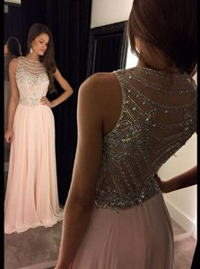 Scoop Pink Side Zipper Prom Party Dress Beading Sleeveless Asymmetrical
