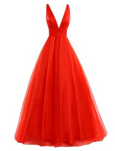 Graceful Coral Red Sleeveless Pleated Zipper