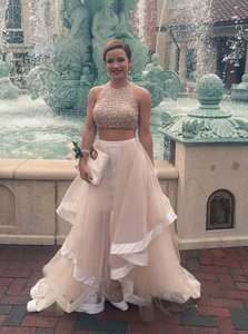 Halter Top Sleeveless Zipper Floor Length Beading Prom Gown