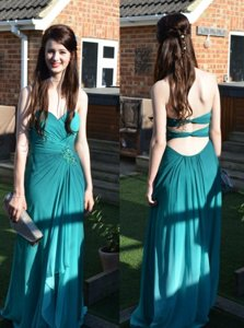 Sleeveless Backless Floor Length Ruching