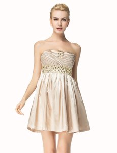 Comfortable Champagne Side Zipper Prom Dresses Beading and Pleated Sleeveless Mini Length