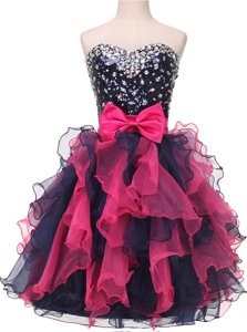 Sweetheart Sleeveless Evening Dress Knee Length Beading and Ruffles and Bowknot Multi-color Organza