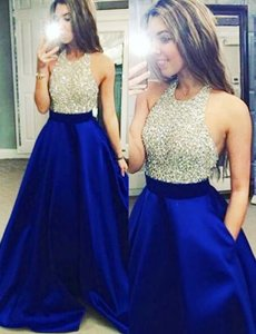 Super Satin Halter Top Sleeveless Backless Beading Prom Evening Gown in Royal Blue