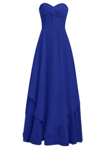 Royal Blue Sleeveless Ruffles Floor Length Dress for Prom