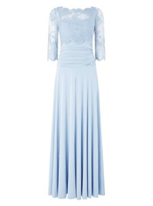 New Style Light Blue 3|4 Length Sleeve Silk Like Satin Zipper Prom Evening Gown for Prom and Wedding Party