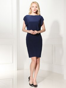 Bateau Cap Sleeves Zipper Dress for Prom Navy Blue Silk Like Satin