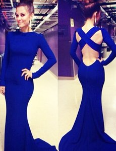 Royal Blue Mermaid Scoop Long Sleeves Elastic Woven Satin Brush Train Criss Cross Ruching Prom Party Dress
