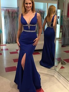 Sweet Mermaid Backless V-neck Sleeveless Homecoming Dress Floor Length Beading Royal Blue Chiffon